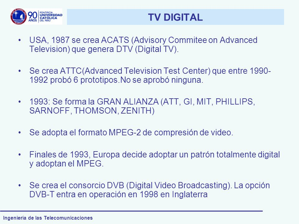 TV DIGITAL USA, 1987 se crea ACATS (Advisory Commitee on Advanced Television) que genera DTV (Digital TV).