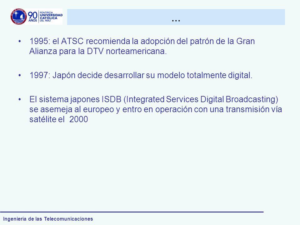 ... 1995: el ATSC recomienda la adopción del patrón de la Gran Alianza para la DTV norteamericana.