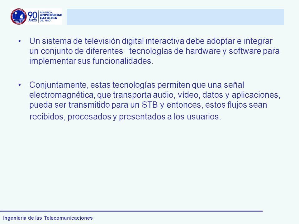 Un sistema de televisión digital interactiva debe adoptar e integrar un conjunto de diferentes tecnologías de hardware y software para implementar sus funcionalidades.