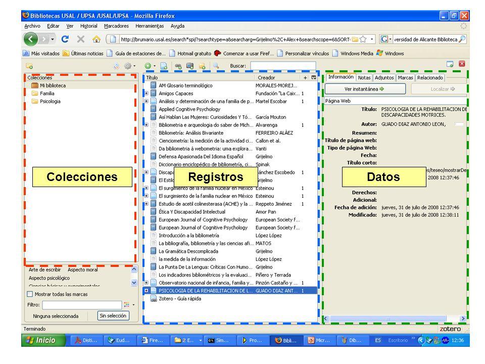 Colecciones Registros Datos