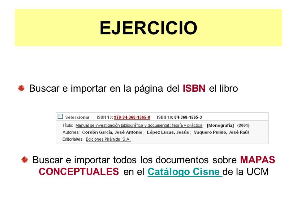 EJERCICIO Buscar e importar en la página del ISBN el libro
