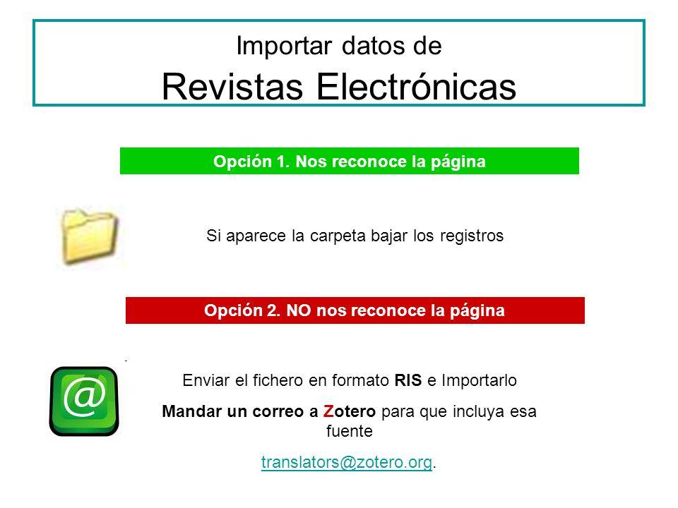 Importar datos de Revistas Electrónicas