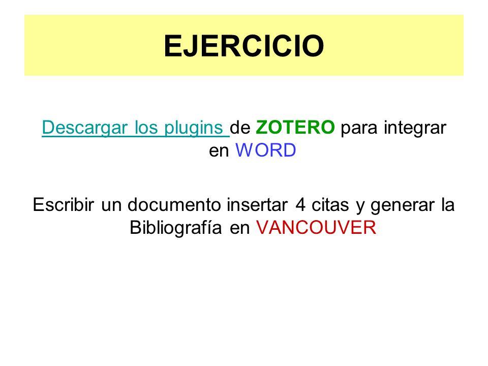 Descargar los plugins de ZOTERO para integrar en WORD