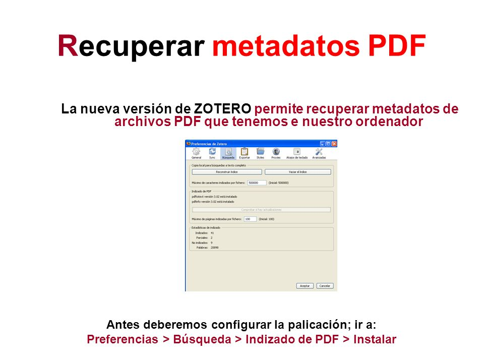 Recuperar metadatos PDF