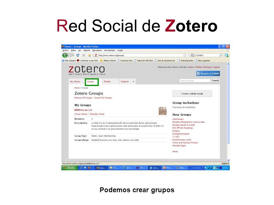 Red Social de Zotero Podemos crear grupos