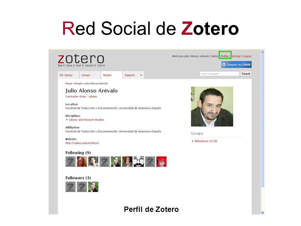 Red Social de Zotero Perfil de Zotero