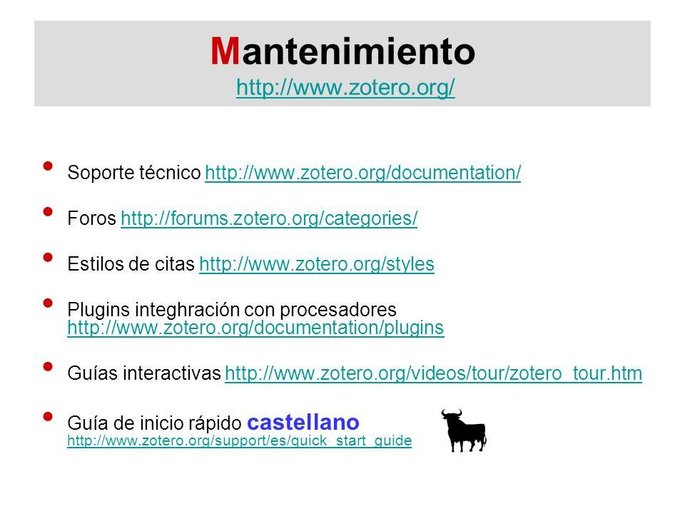 Mantenimiento http://www.zotero.org/