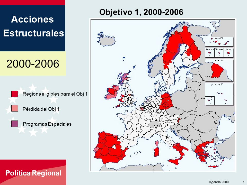 Objetivo 1, 2000-2006 Regions eligibles para el Obj 1