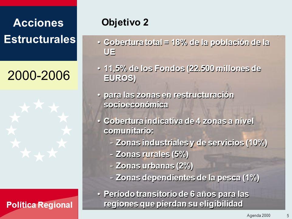 Objetivo 2 Cobertura total = 18% de la población de la UE