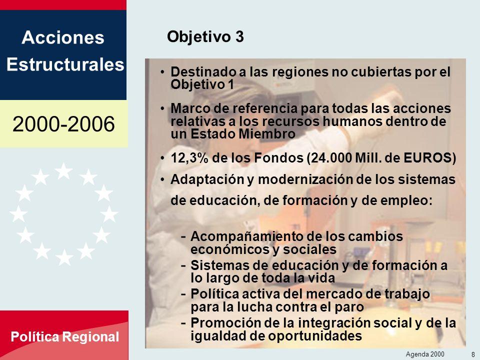 Objetivo 3 Destinado a las regiones no cubiertas por el Objetivo 1
