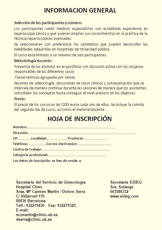 INFORMACION GENERAL HOJA DE INSCRIPCIÓN