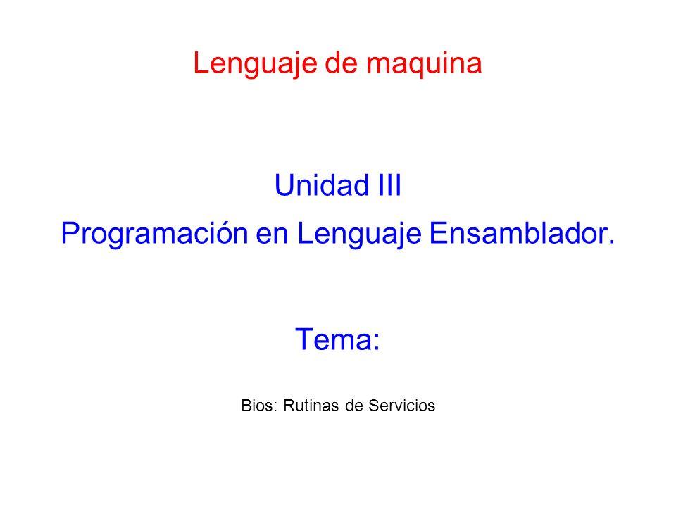 Programación en Lenguaje Ensamblador.