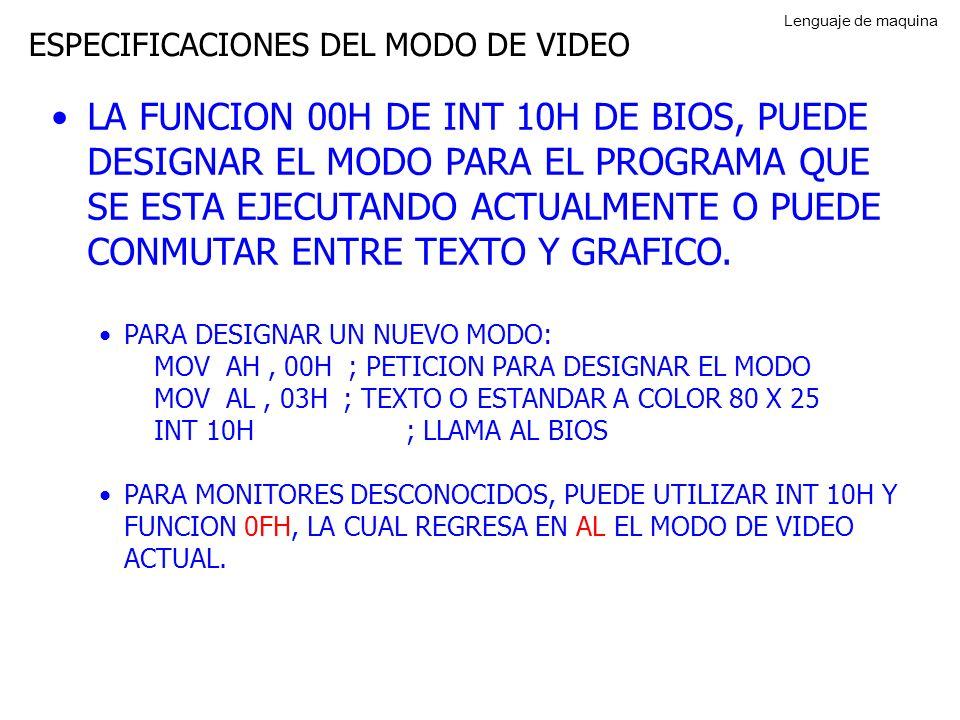 Lenguaje de maquina ESPECIFICACIONES DEL MODO DE VIDEO.