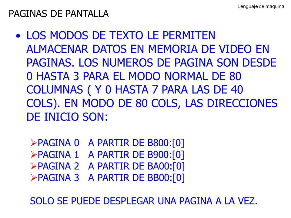 Lenguaje de maquina PAGINAS DE PANTALLA.