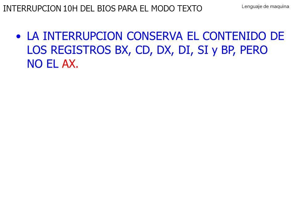 INTERRUPCION 10H DEL BIOS PARA EL MODO TEXTO