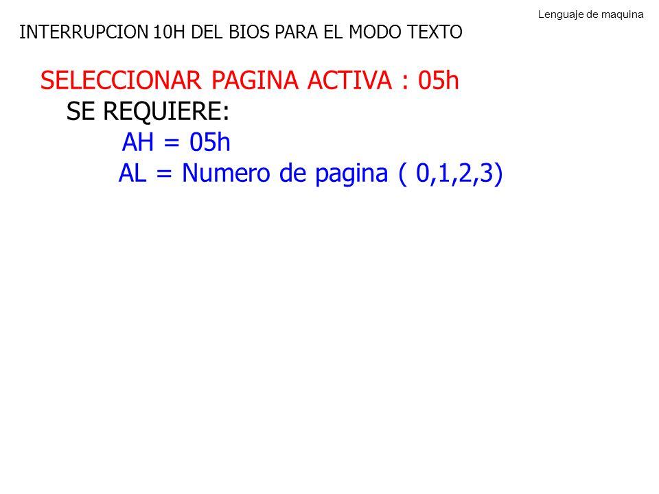 SELECCIONAR PAGINA ACTIVA : 05h SE REQUIERE: AH = 05h