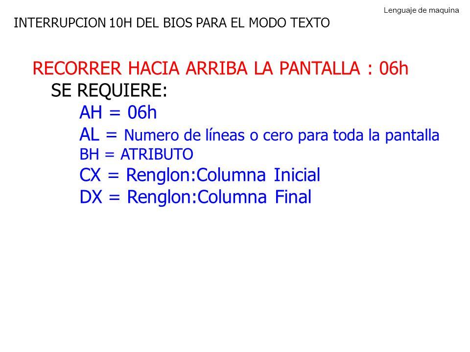 RECORRER HACIA ARRIBA LA PANTALLA : 06h SE REQUIERE: AH = 06h