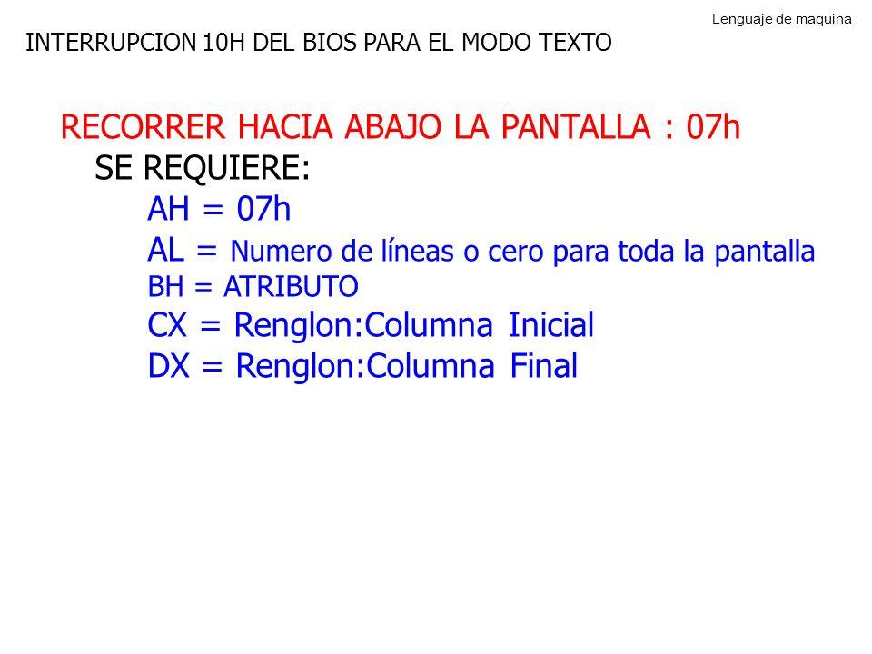 RECORRER HACIA ABAJO LA PANTALLA : 07h SE REQUIERE: AH = 07h
