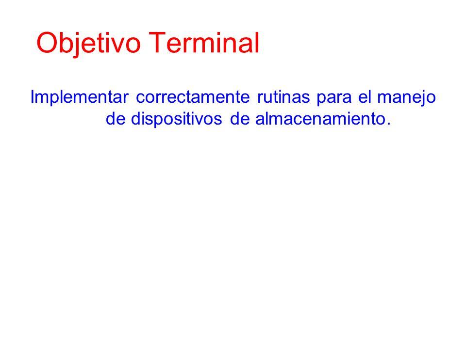 Objetivo Terminal Implementar correctamente rutinas para el manejo de dispositivos de almacenamiento.