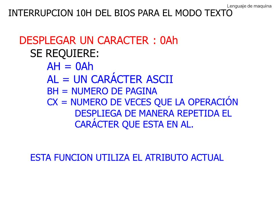 DESPLEGAR UN CARACTER : 0Ah SE REQUIERE: AH = 0Ah