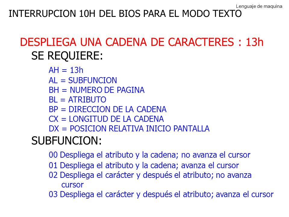 DESPLIEGA UNA CADENA DE CARACTERES : 13h SE REQUIERE: AH = 13h