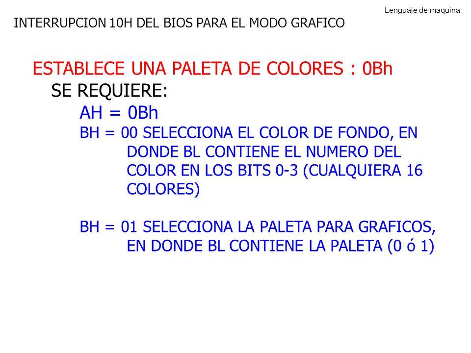ESTABLECE UNA PALETA DE COLORES : 0Bh SE REQUIERE: AH = 0Bh