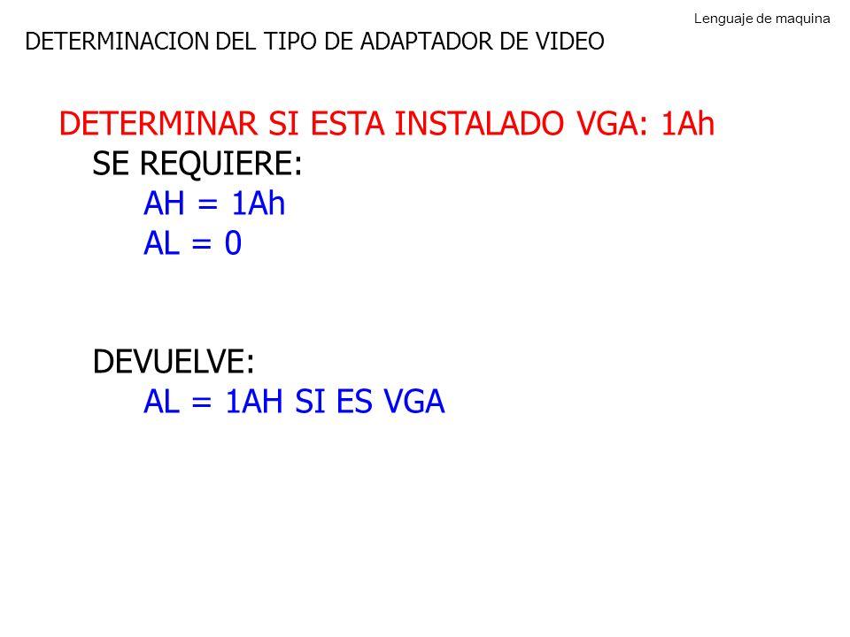 DETERMINAR SI ESTA INSTALADO VGA: 1Ah SE REQUIERE: AH = 1Ah AL = 0