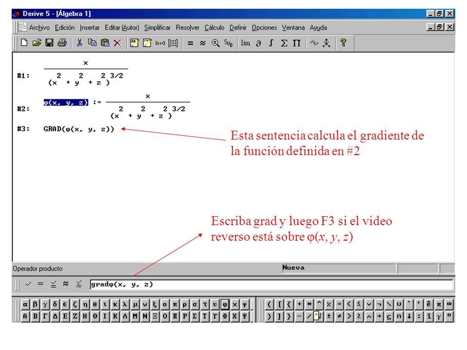Esta sentencia calcula el gradiente de la función definida en #2