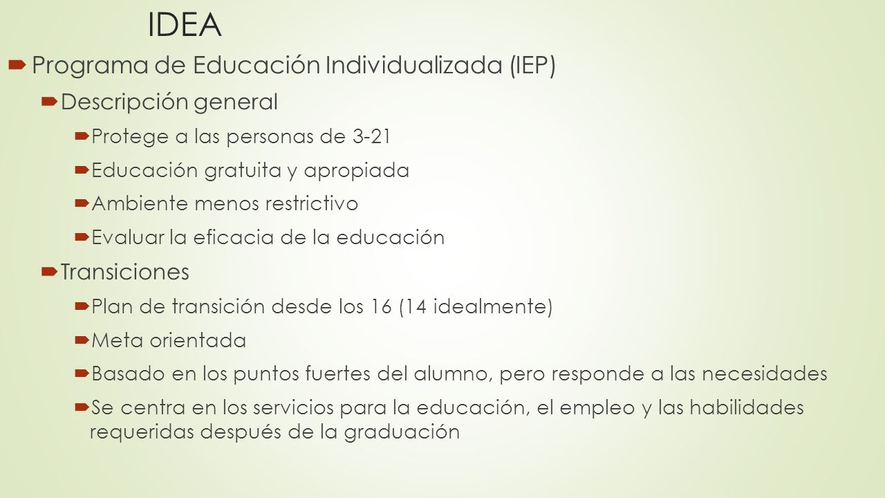 IDEA Programa de Educación Individualizada (IEP) Descripción general
