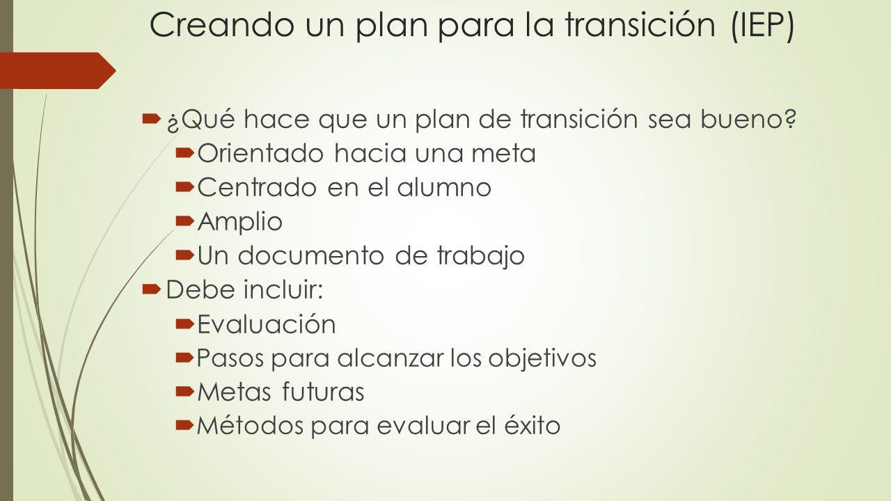 Creando un plan para la transición (IEP)