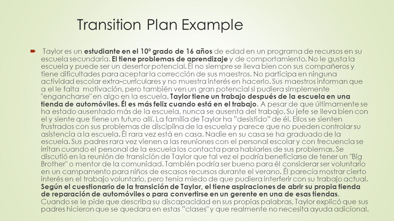 Transition Plan Example