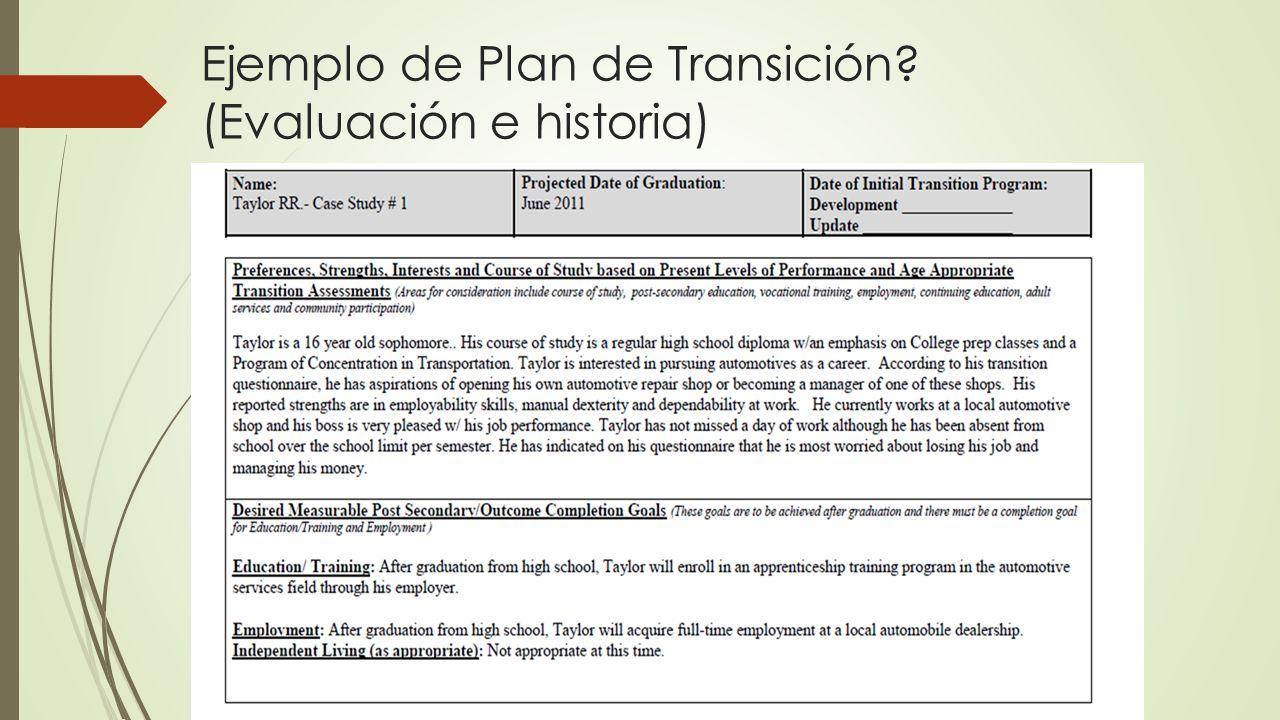 Ejemplo de Plan de Transición (Evaluación e historia)