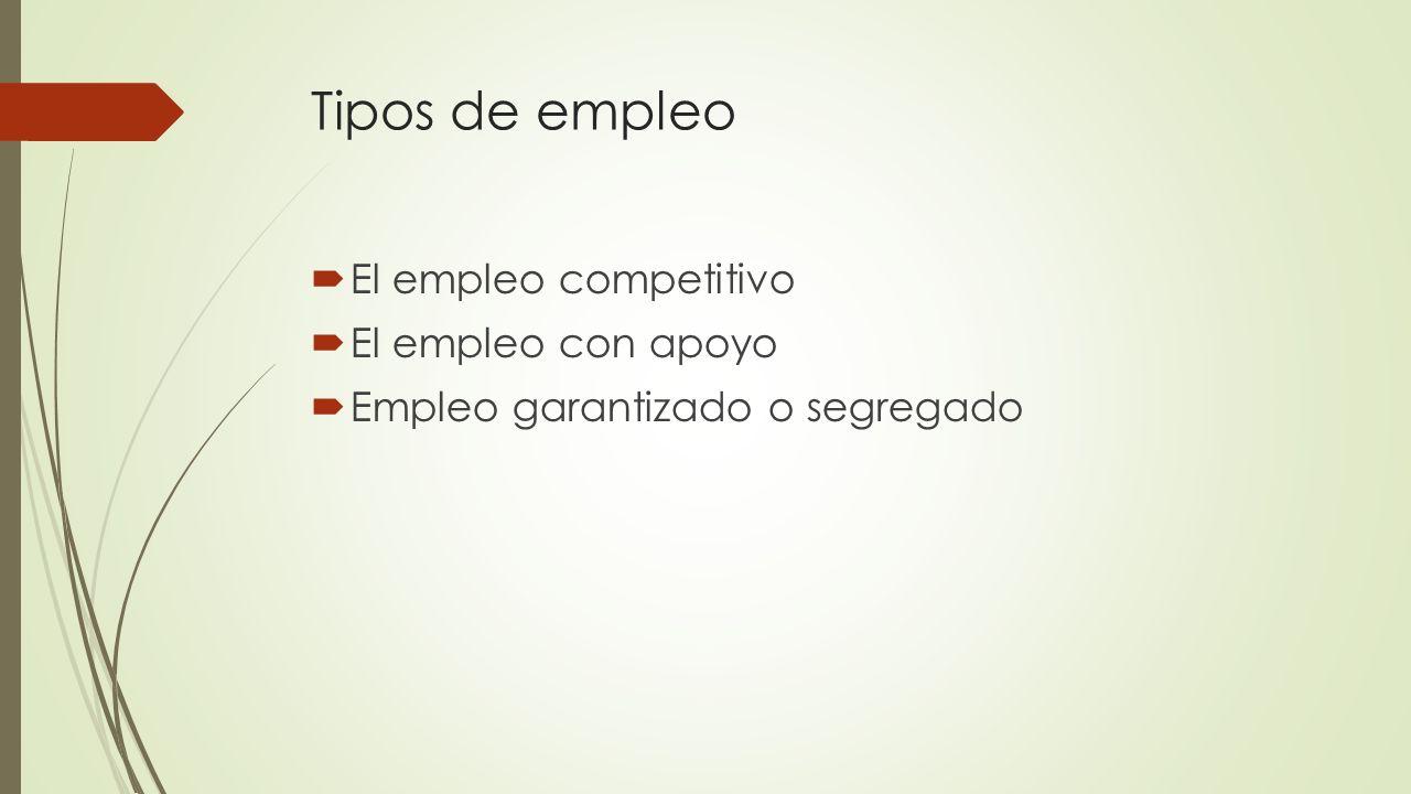 Tipos de empleo El empleo competitivo El empleo con apoyo