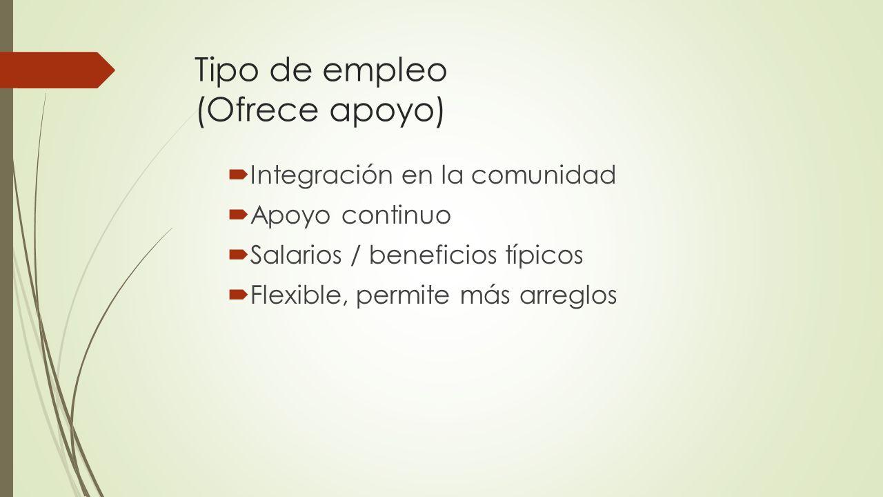 Tipo de empleo (Ofrece apoyo)