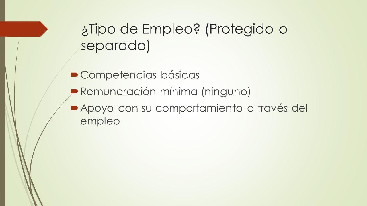 ¿Tipo de Empleo (Protegido o separado)