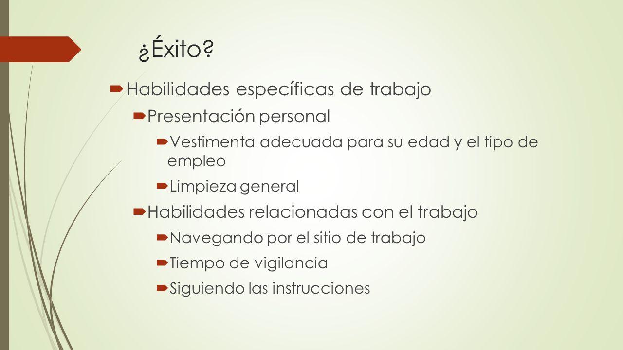 ¿Éxito Habilidades específicas de trabajo Presentación personal