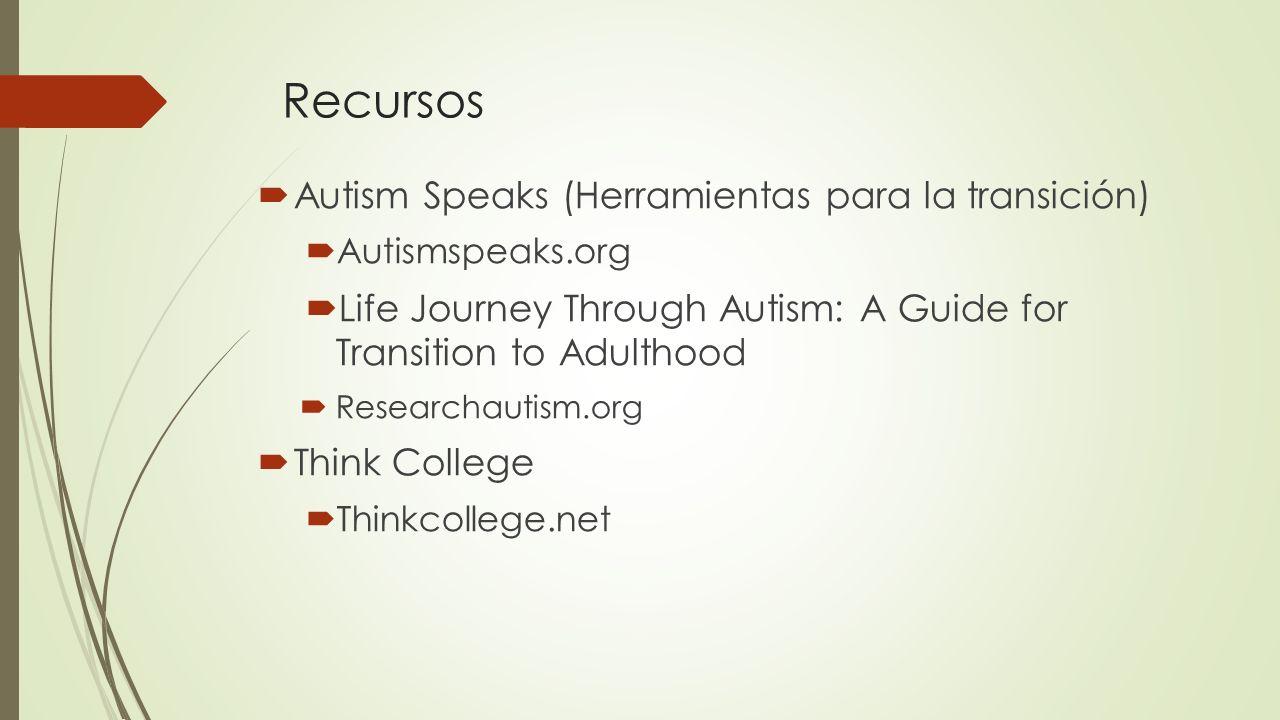 Recursos Autism Speaks (Herramientas para la transición)