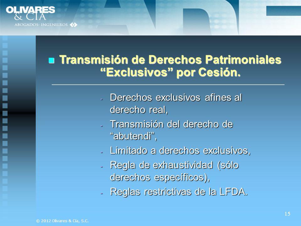 Transmisión de Derechos Patrimoniales Exclusivos por Cesión.