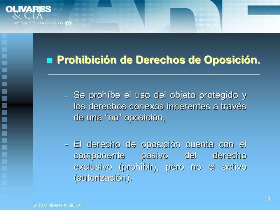 Prohibición de Derechos de Oposición.