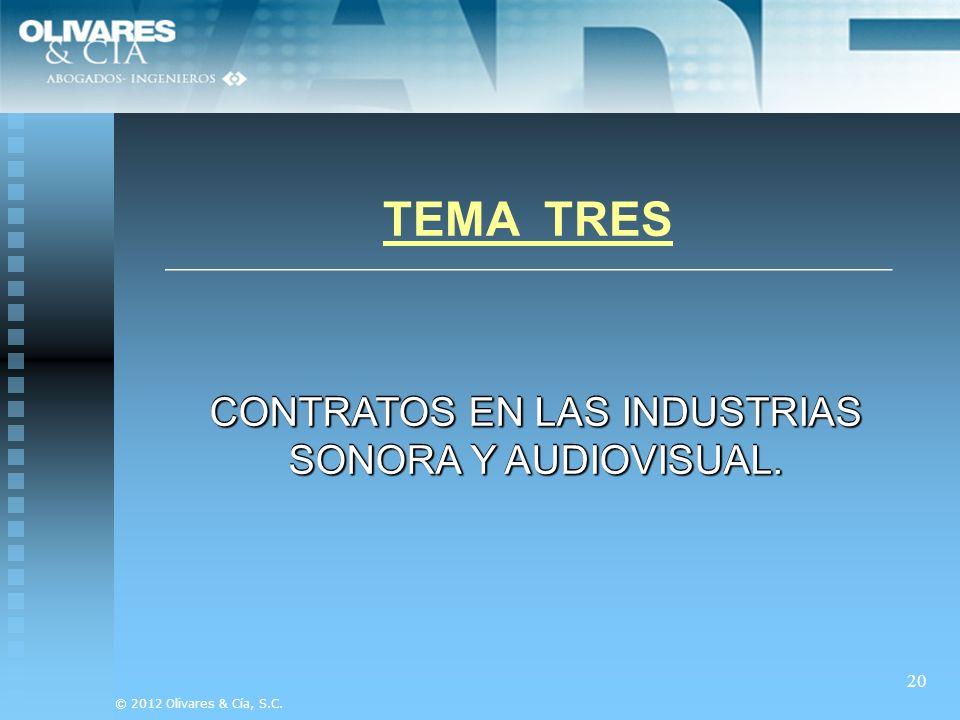 CONTRATOS EN LAS INDUSTRIAS SONORA Y AUDIOVISUAL.