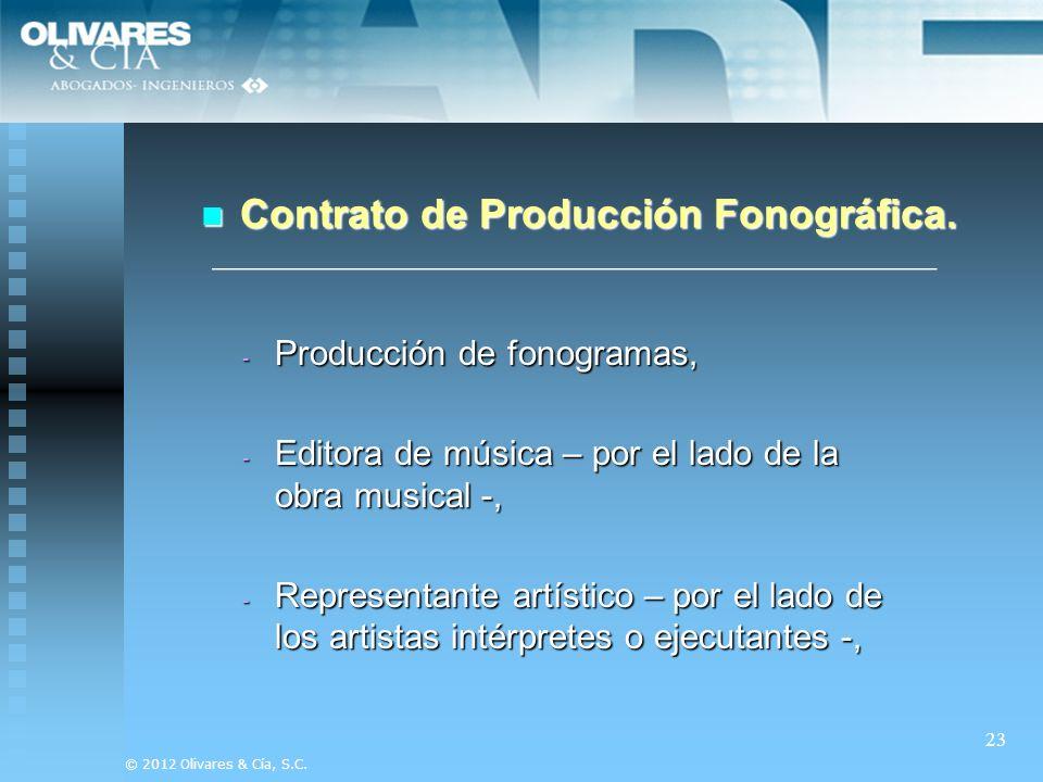 Contrato de Producción Fonográfica.