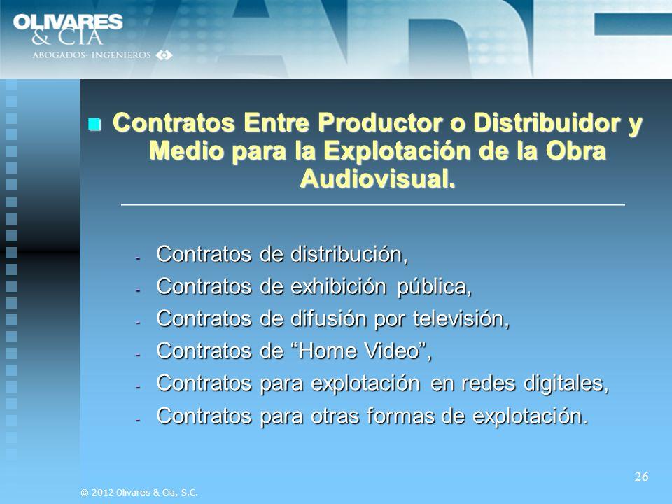 Contratos Entre Productor o Distribuidor y Medio para la Explotación de la Obra Audiovisual.