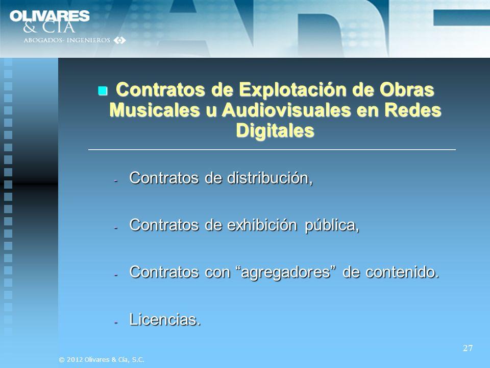 Contratos de Explotación de Obras Musicales u Audiovisuales en Redes Digitales