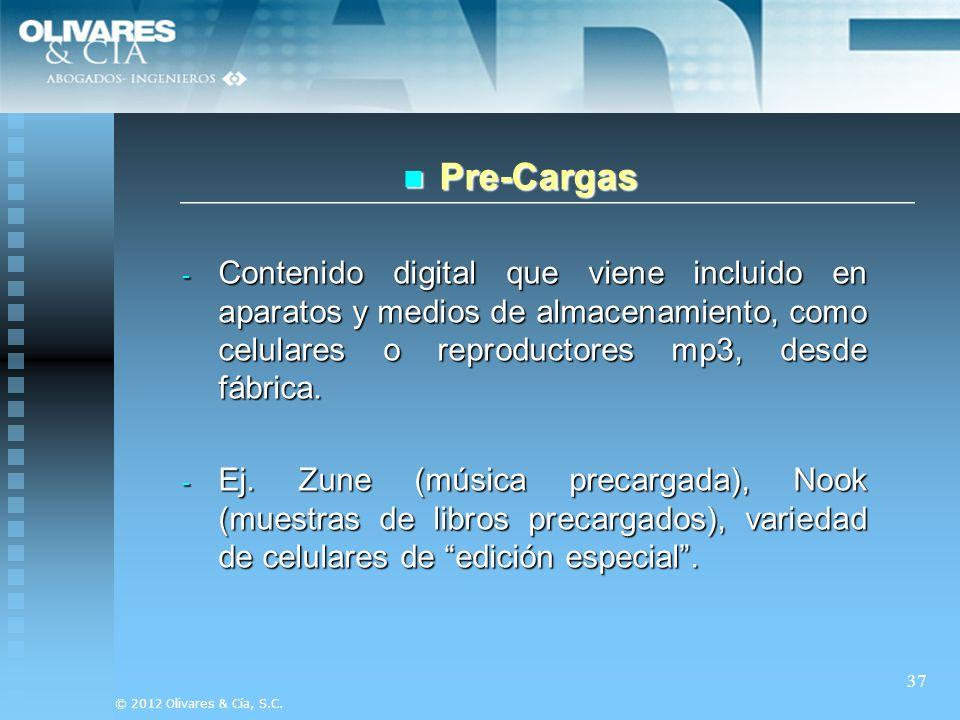 Pre-Cargas Contenido digital que viene incluido en aparatos y medios de almacenamiento, como celulares o reproductores mp3, desde fábrica.