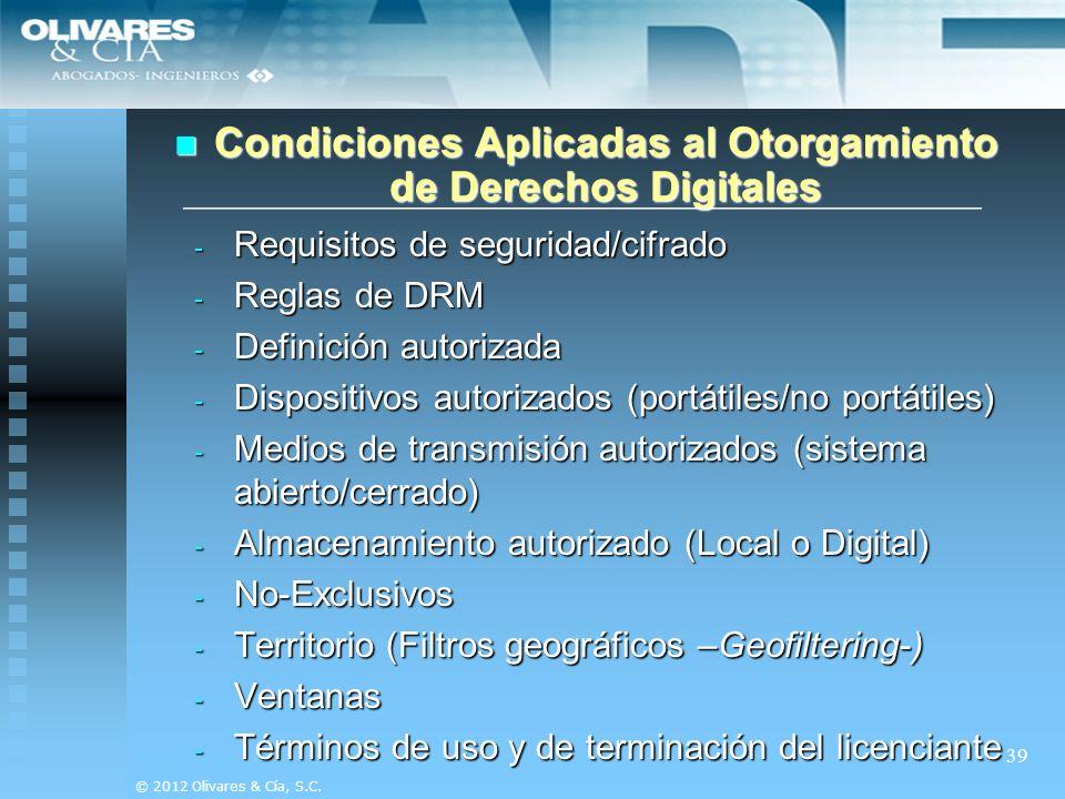 Condiciones Aplicadas al Otorgamiento de Derechos Digitales