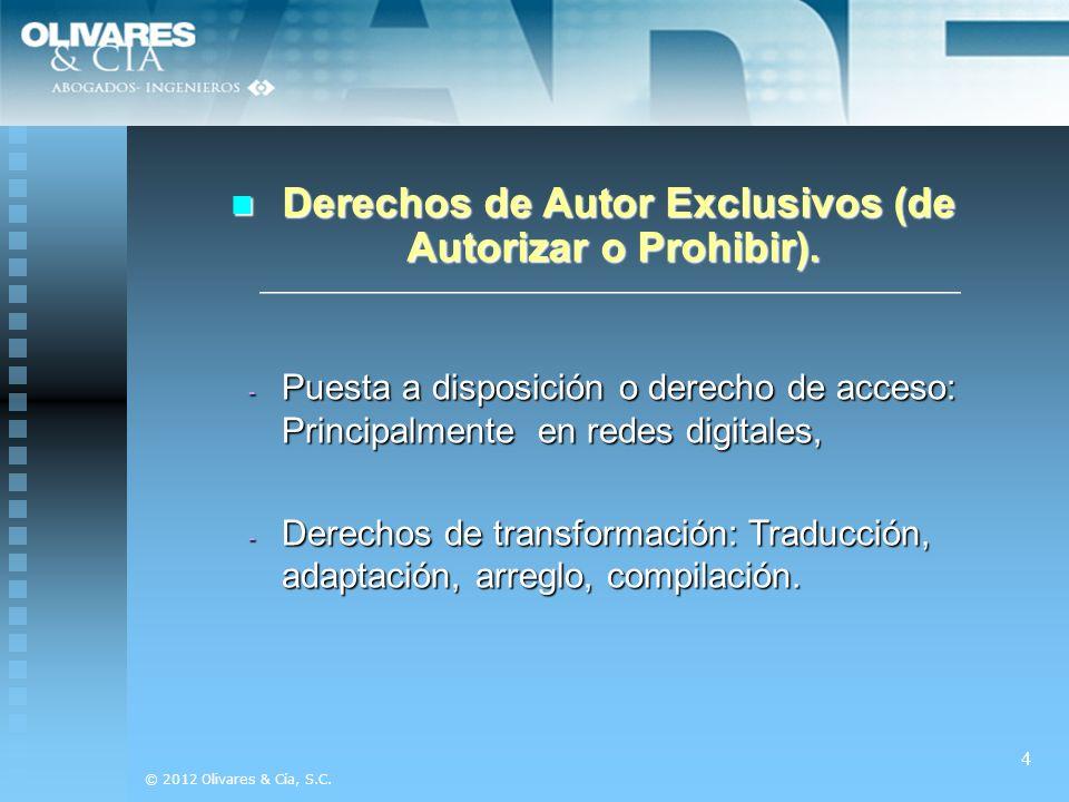 Derechos de Autor Exclusivos (de Autorizar o Prohibir).