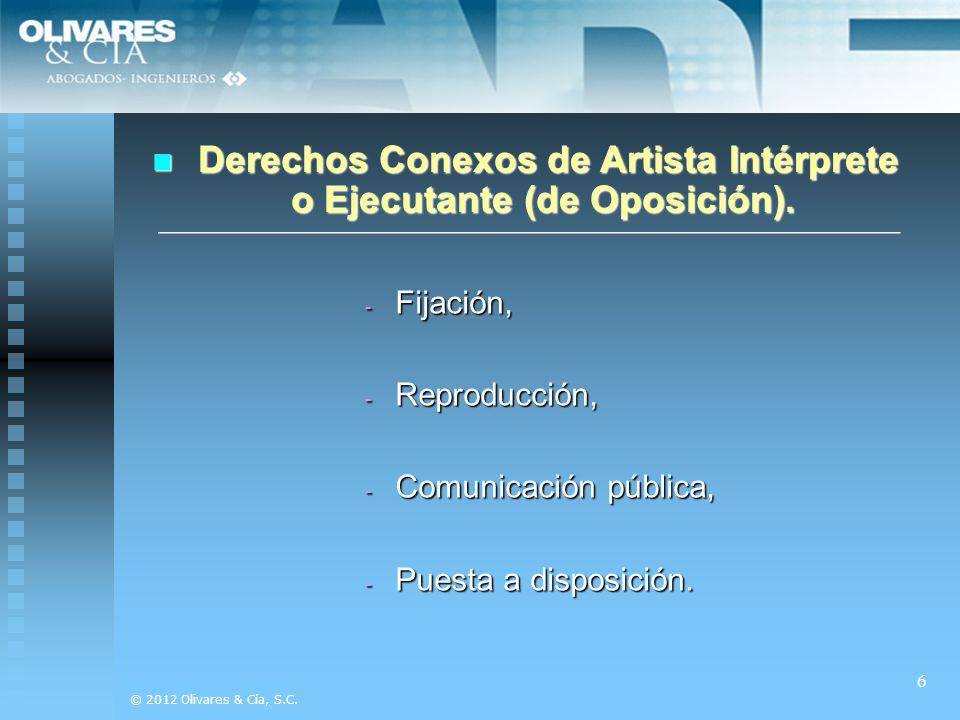 Derechos Conexos de Artista Intérprete o Ejecutante (de Oposición).