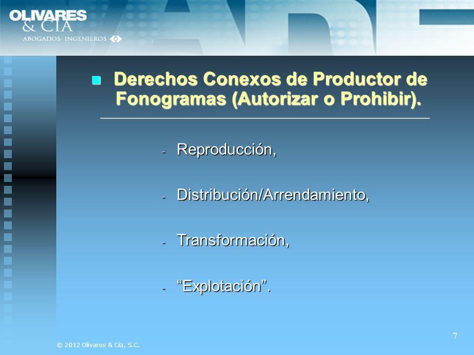 Derechos Conexos de Productor de Fonogramas (Autorizar o Prohibir).