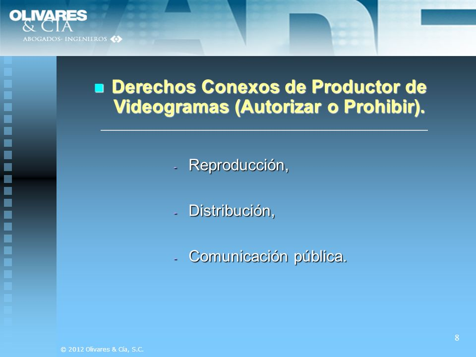 Derechos Conexos de Productor de Videogramas (Autorizar o Prohibir).
