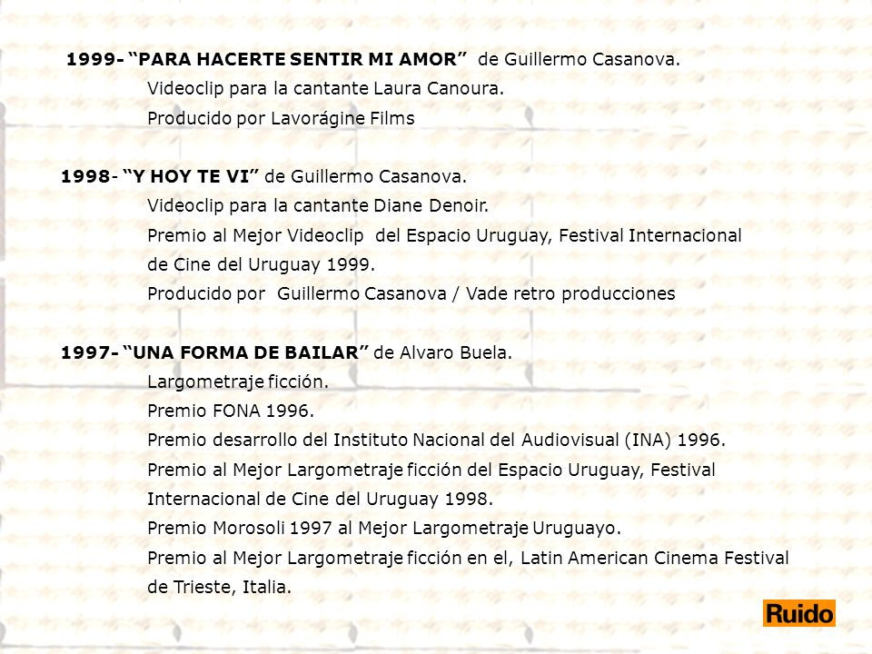 1999- PARA HACERTE SENTIR MI AMOR de Guillermo Casanova.